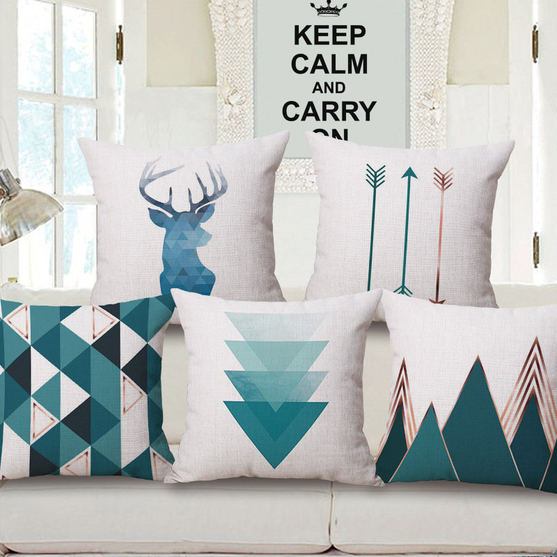 Nordic Style Deer Geometric Cushion Covers Mountain Arrows Blue Pillow Cases Linen Cotton Pillow Covers Bedroom Sofa Decor