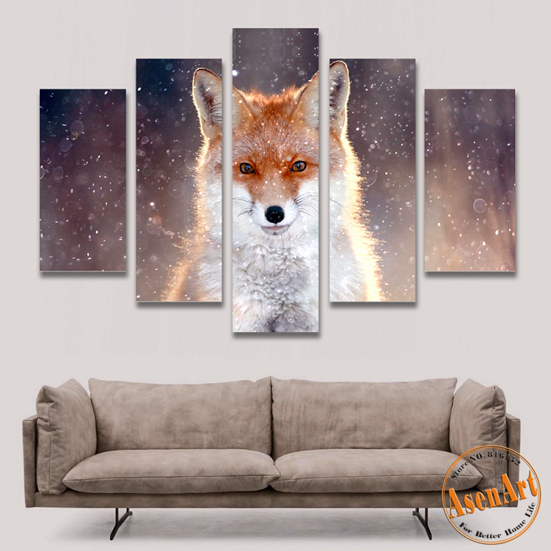 Buy 5 Panel Wall Art Fox Painting Picture Print On Canvas Painting Animal Wall