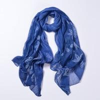2018 khăn của phụ nữ lá hoa khăn choàng dài Mùa Xuân và Mùa Thu chất lượng cao organza lady thanh lịch hijab wraps 90X180 CM