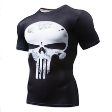 Punisher T-Shirt Men Gyms Sports T Shirt Short Sleeve Male Quick Drying Tee Superman Compression MMA Skull Top