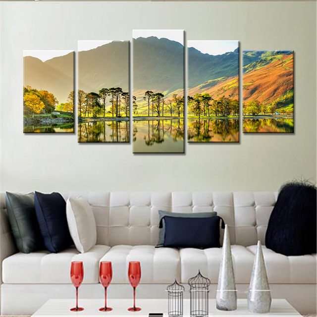 Great 5 Pieces Drop Shipping Home Decor Trees Mountains Sunshine Canvas Prints  Painting Framed Art Print Picture