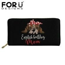 FORUDESIGNS English Bulldog Printed Women Long Wallets Female Fashion Function Clutch Card Slots Bags Ladies Cartoon Coin Purses
