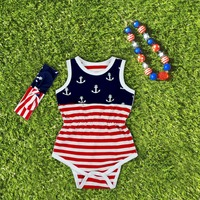 2016 new Baby Girl fourth of july outfits summer Romper Pretty Romper newborn girl 4th of july baby outfit set anchor print