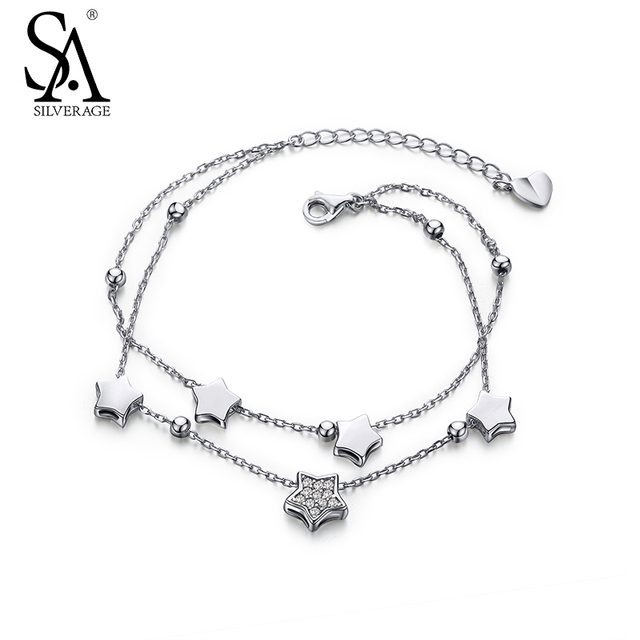 SILVERAGE Authentic 925 Sterling Silver CZ Star Bracelets Fashion Jewelry Silver Chains Bracelets for Women Gift