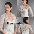 3/4 Sleeve Lace Ivory Shawl Bolero Wedding Jacket Bridal Shrug Wraps Custom Size T48