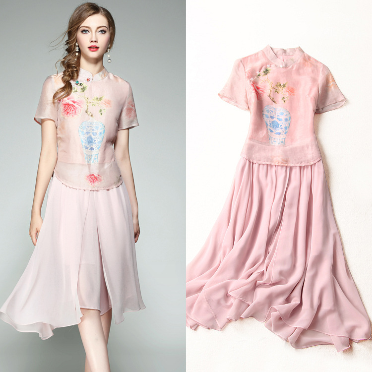 Women Summer Sets 2017 New Blue And White Porcelain Printing Oblique Beads Buttons Top + Pink Chiffon Wide Leg Skirt Pants