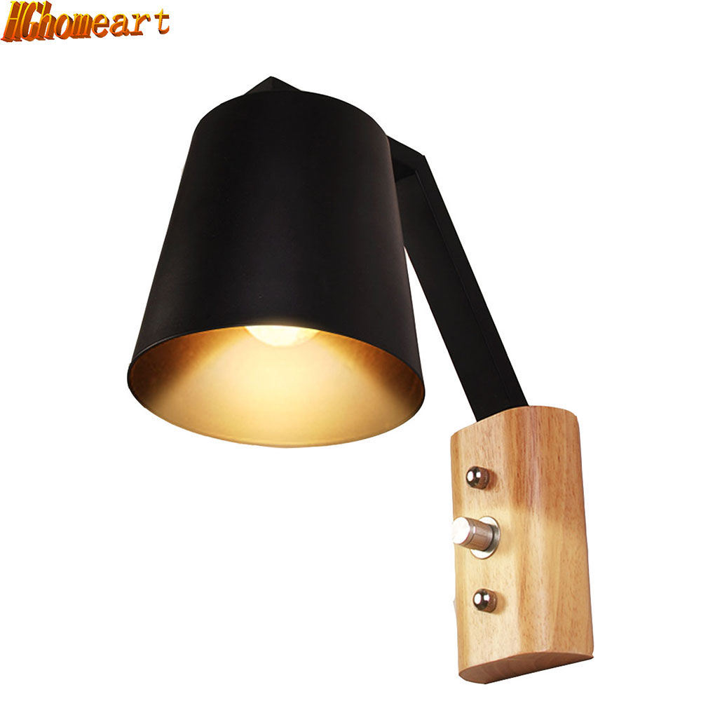 Simple Wood Art Wall Lamp Reading Light Wall Mounted Bedroom Bedside Staircase Lamp Balcony Aisle Retro