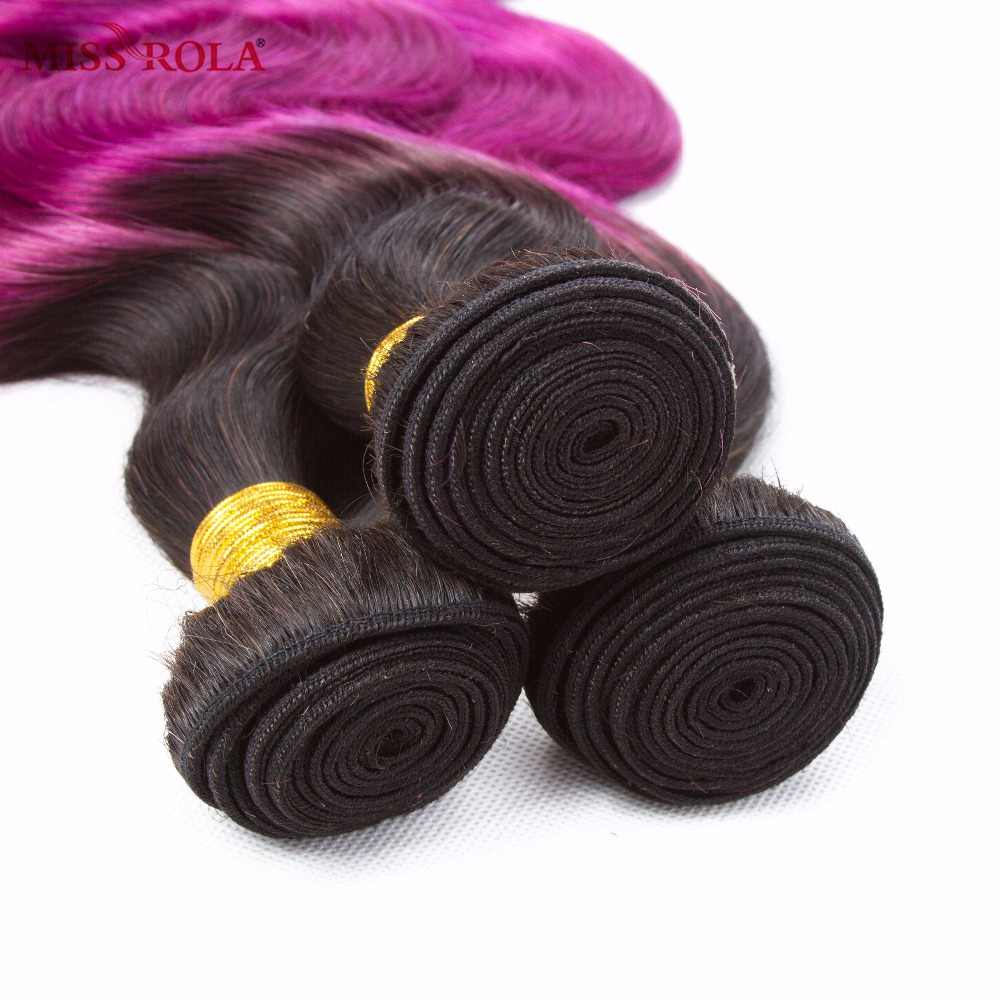 Miss Rola Hair Peruvian Body Wave Hair Weaving 3 Bundles With Closure #T1B/Purple Color  100% Human  Non-Remy Hair Extensions