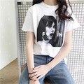 2017 South Korea Chic Fashion head portrait Printing short-sleeved Loose T-shirt Female Tops