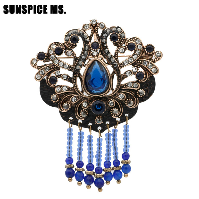 Sunspice Ms Vintage Turkish Retro Bead Resin Brooch Jewelry Antique Gold  Color Black Paint Hollow Flower Ethnic Wedding Pin Gift 60f913f499d9