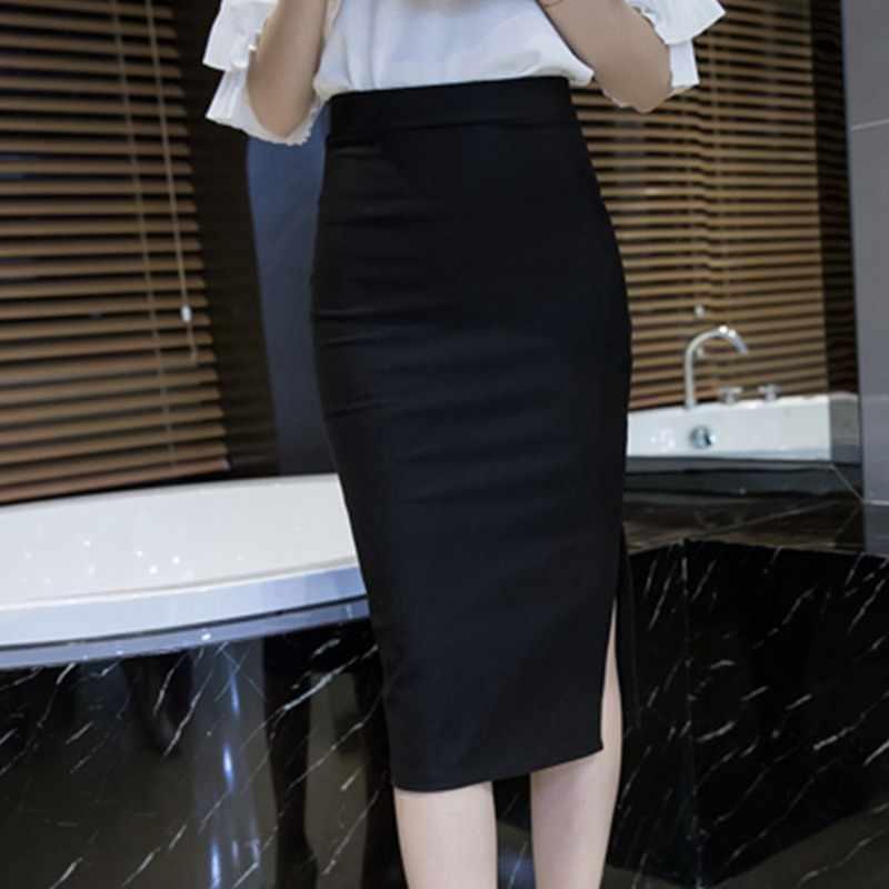 8af87ee5c2 ... Womens Red Skirts 2018 Spring Elastic Elegant Sexy High Waist Skirt  Black Office Lady Formal Long ...