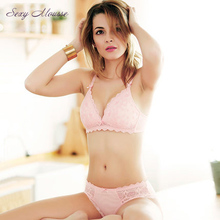Sexy Mousse pink black white cotton Bra set with push up cups Intimates bra thong panty Set For Women