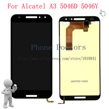 """5.0 """"עבור אלקטל A3 5046 צג lcd מלא + מסך מגע Digitizer עצרת עבור אלקטל A3 5046D 5046Y LCD שחור"""