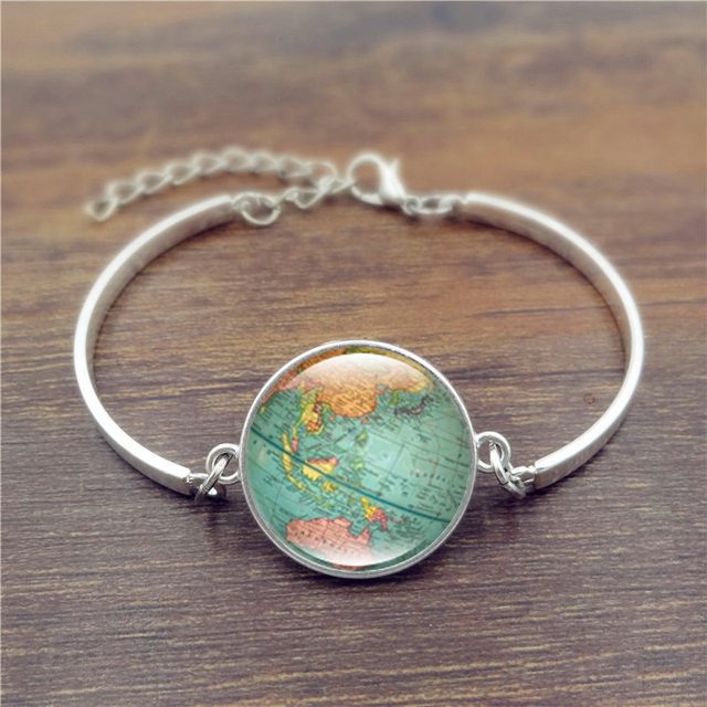 Creative Globe Map Bracelets Bangles Planet Earth World Map Art
