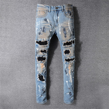 2019 New Fashion High Street trend Hole Locomotive jeans Light Blue old Slim punk youth feet pants More Size 28-38 40 42