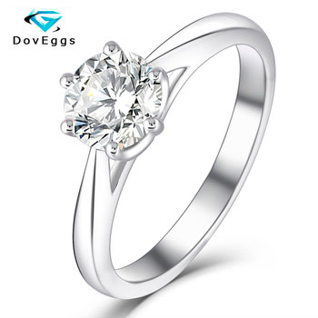 DovEggs  Sterling Solid 925 Silver 1 CTW 6.5MM  HI Color Excellent Cut Moissanite Diamond Engagement Wedding Ring for Women