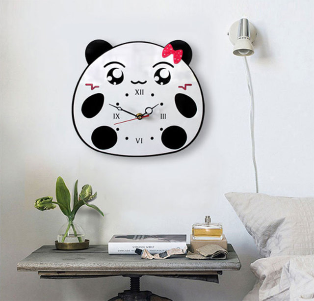 New Arrival Cute Panda Wall Clock Creative Cartoon Acrylic Mute ...