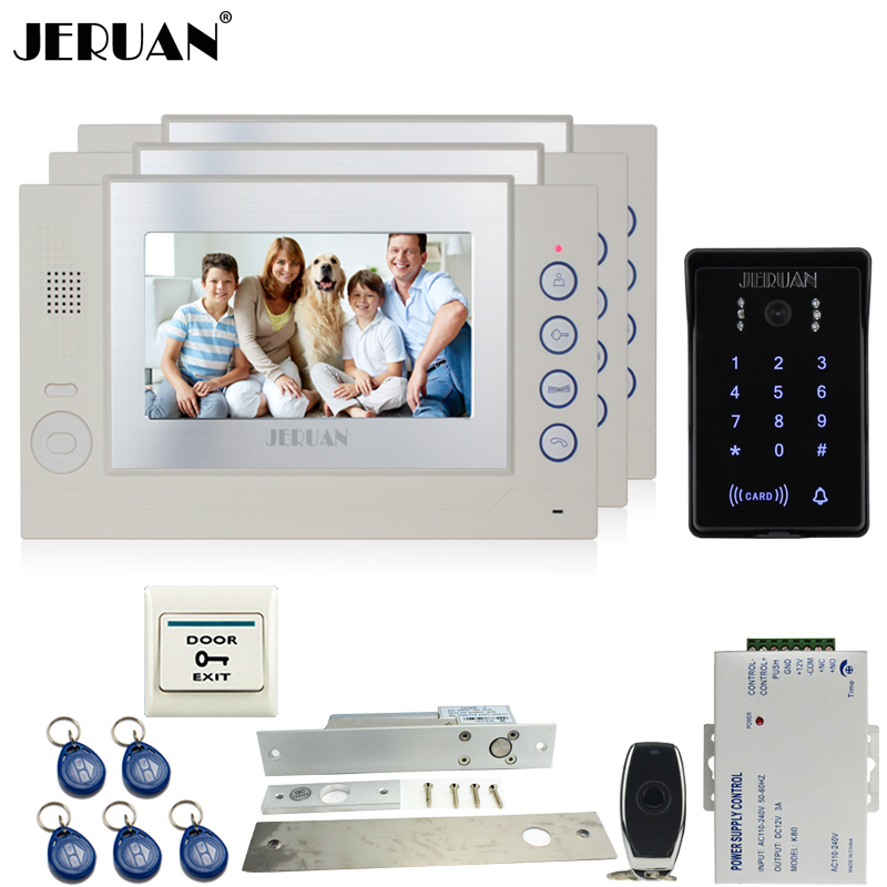 JERUAN 7 inch Color LCD video door phone Record intercom system Kit 3 monitor New waterproof Touch Key password keypad Camera jeruan 7 lcd video door phone record intercom system 3 monitor new rfid waterproof touch key password keypad camera 8g sd card