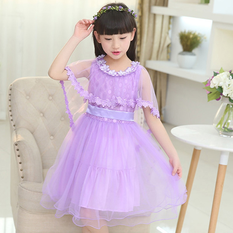 2018 summer new kids girls dance costumes Princess Dress Children's  flower dresses  Get lace shawl girl clothes purple pink baby dress shawl girl princess dress