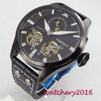 2019 Chegam Novas 46mm Corgeut Data Mostrador Preto Relógios Mecânicos relogio masculino Presente Romântico dos homens Fase Da Lua Automático relógio Relógios mecânicos Relógios -