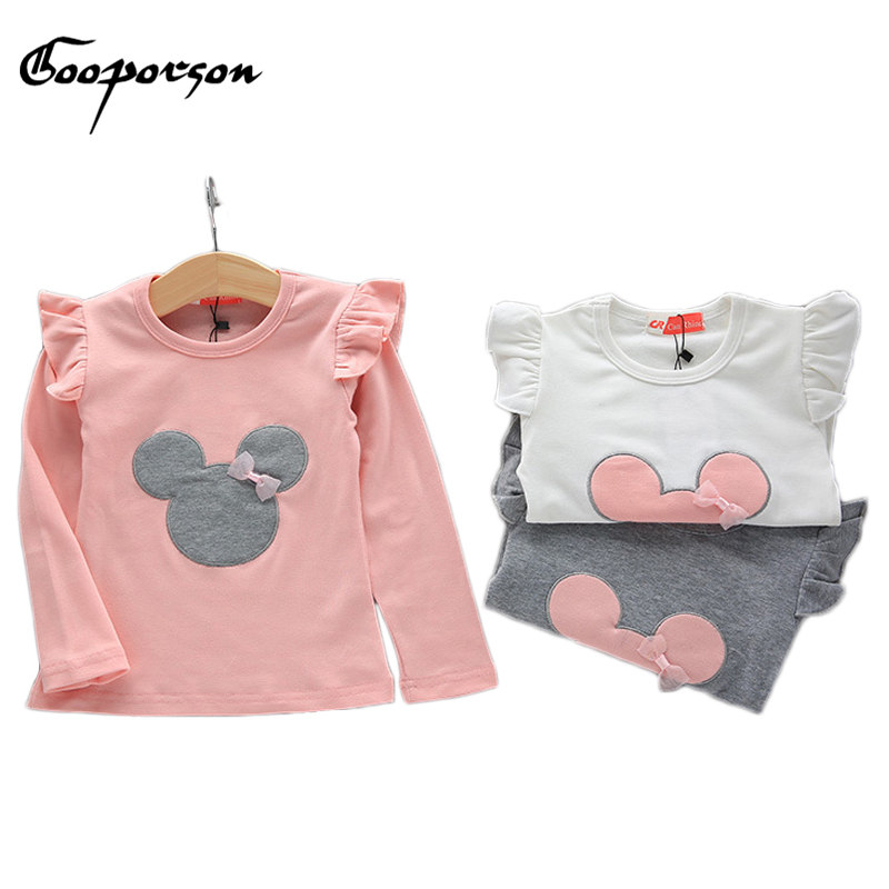 Baby Girls Long Sleeve shirt Mouse Printed Solid Kids Tops Clothes Children Tee Shirt Cartoon Outfits Basic Kids Clothing fringe detail sleeve solid tee