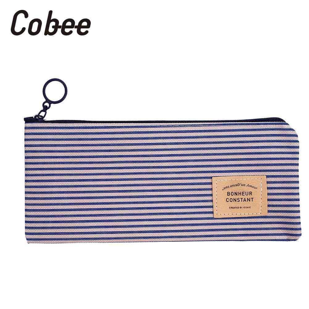 Stripe Pencil Case Cosmetic Pen Bag Grid Pencil Case Canvas Kid Simple Bag Fashionable Oxford Fabric