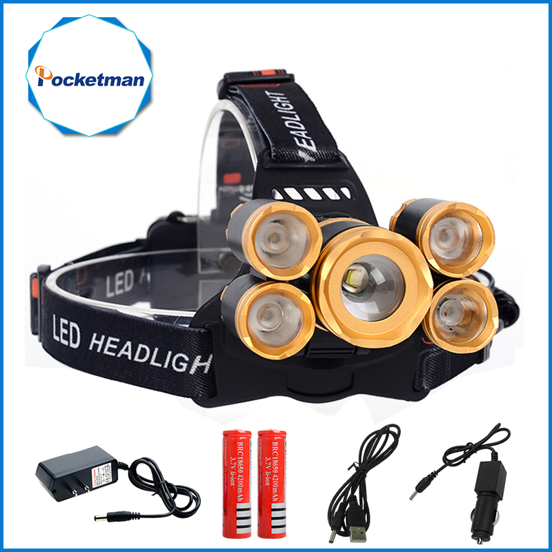 18000LM CREE T6 4 XPE LED Headlamp 5LEDs Headlight Waterproof Lamp Zoomable light 18650 Battery USB