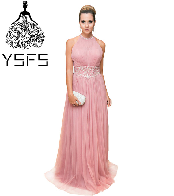 5619a8bf76 YSFS Elegant High Neck Pink Long Evening Dresses Floor-length Tulle Beaded  Zipper Back Formal Evening Gowns Robe De Soiree