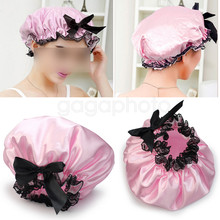 Pink Ribbon Waterproof Elastic Band Lace Bow Hat Cabelo Bath Shower Bouffant  Cap 2be6ed99420