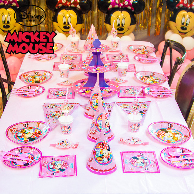 fac273bbe48 Disney Minnie Mouse Theme 129pcs lot Girls Favor Birthday Party Cartoon  Tableware Baby Shower Cup