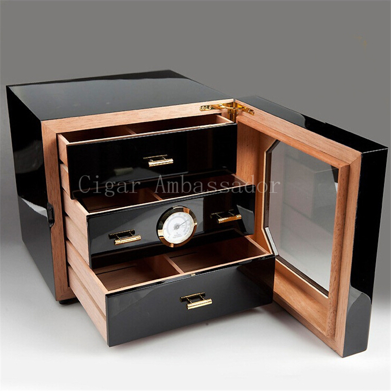 buy cohiba luxury black high glossy finish wooden cigar cabinet humidor storage box with 3 drawers hygrometer humidifier from reliable box - Cigar Humidors