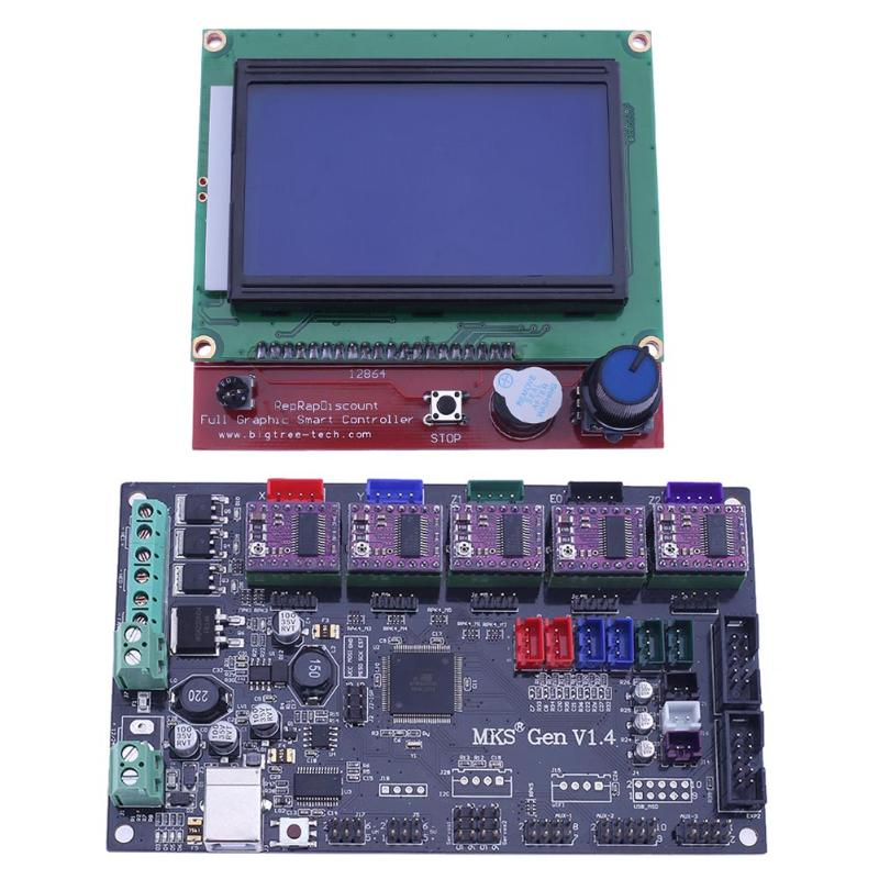 3D Printer MKS GEN V1.4 Mainboard+LCD 12864 Display+5pcs DRV8825 Driver + L Shape Adapter For 3D printing