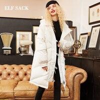 Эльф SACK новые зимние женские пальто куртки 90% белая утка вниз куртка с капюшоном с длинным рукавом Теплый Тонкий Повседневная Женская обувь