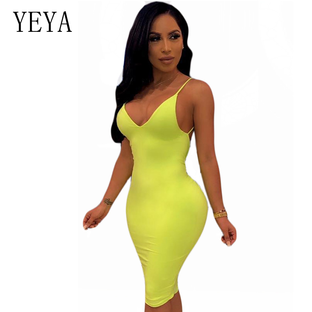 YEYA Neon Yellow Spaghetti Strap Summer Dress Sleeveless Sexy Deep V Neck Hollow Out Backless Bodycon Night Club Party Wear