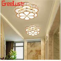 Fleur Design cristal plafond Lustre lampes or Led Plafonnier pour allée Lustre couloir balcon plafond lampara lumière de la maison