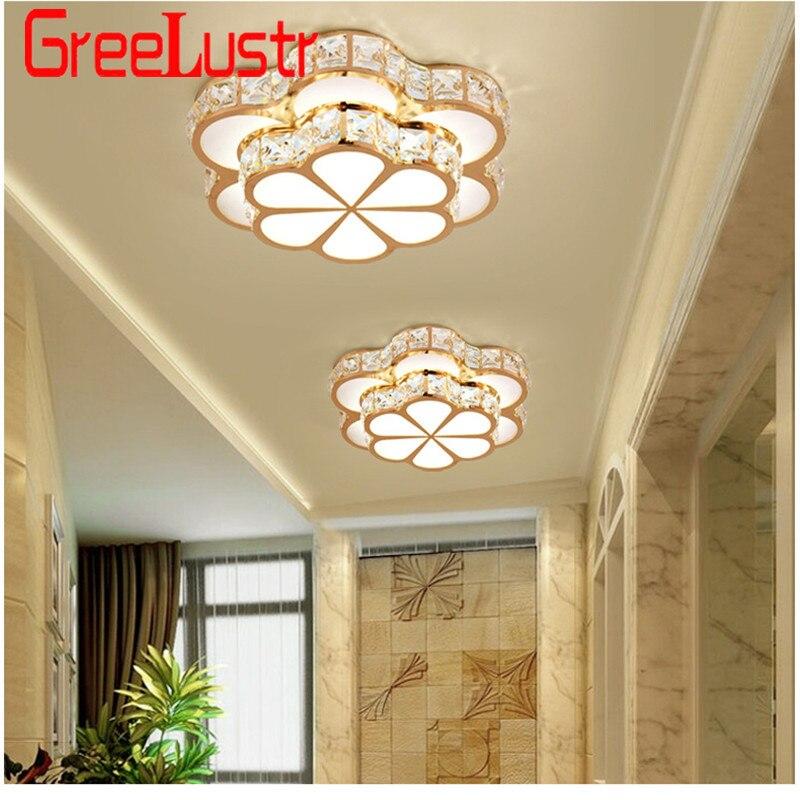 Flower Design Crystal Ceiling Chandelier Lamps Gold Led Plafonnier For Aisle Lustre Corridor Balcony Ceiling Lamparas Innrech Market.com