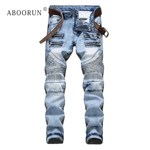 ABOORUN Hi Street Men's Biker Jeans Snowflake Ripped Motor Jeans Brand Designer Men's Hip Hop Jeans Streetwear x1463