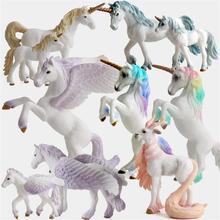 다채로운 유니콘 장난감 시뮬레이션 미니 동물 모델 유니콘 비행 말 그림 모델 야생 인물 아이 교육 장난감 입상