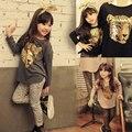 2017 новая коллекция весна зима девушки мода leopard хлопок футболка + брюки одежда наборы baby дети дети случайные рубашки леггинсы 184 S