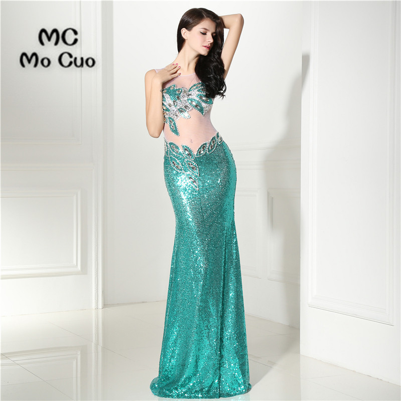 2017 Bling Mermaid   Prom     dresses   Long with Sequined Beaded Vestidos de fiesta   dress   for graduation Formal Evening   Prom     Dress
