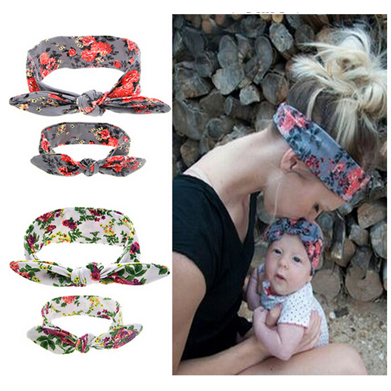 1SET   Headwear   for women Newborn Flowers Print Floral Butterfly Bow Hairband Turban Knot Headband Kids Hair Accessories kt043