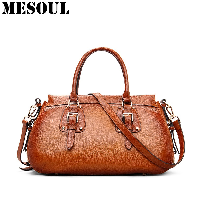 MESOUL Handbags Genuine Leather Bags Women Shoulder Bag Female Vintage Style Designer Brand Luxury Tote Bag Brown Bolsos Mujer 4 in 1 composite bag female lolita style zipper leather cute bear pendant designer brand handbags for women bolsas de couro 49