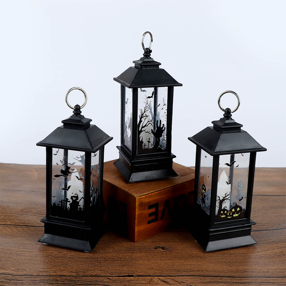 1 Pcs Romantic Protable Halloween Decorative Pumpkin Lamp Castle Shape Candle Light Night Light Lantern Decoration