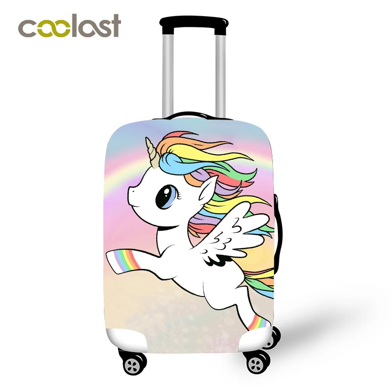 Cartoon Unicorn Travel Luggage Protective Covers Women Cute bagages roulettes Girls Rainbow Clouds Suitcase Travel Accessories clouds without rain