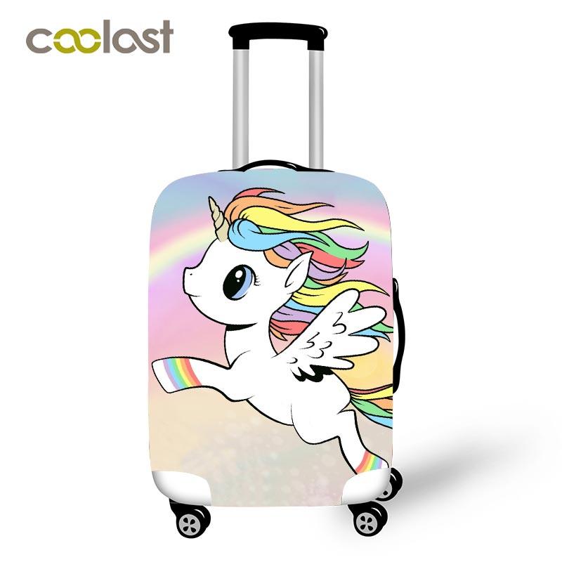 aedb4d2ff Fundas protectoras de equipaje de viaje de unicornio de dibujos animados  para mujeres lindas bolsas routtes niñas Arco Iris nubes maleta accesorios  de viaje ...