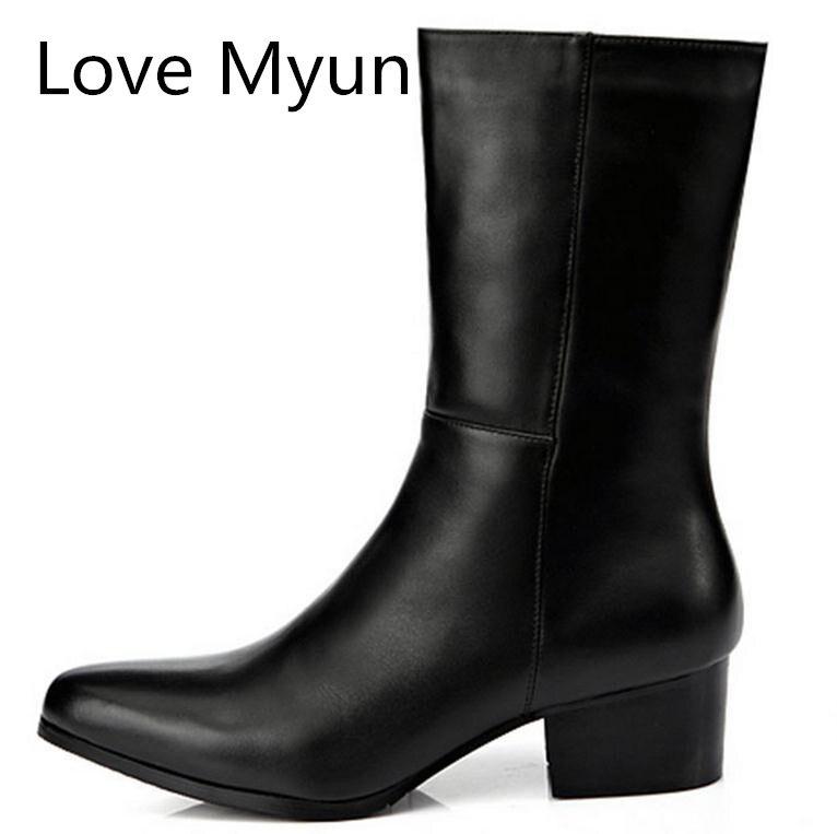 Autumn winter new mens fashion pointed toe zip genuine leather dress boots high heels nightclub bars