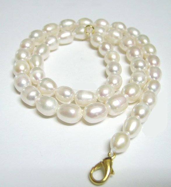 Free Shipping 10pcs/lot White Rice Freshwater Pearl Fashion Necklace Lobster Clasp 7-8mm 16inch P1*