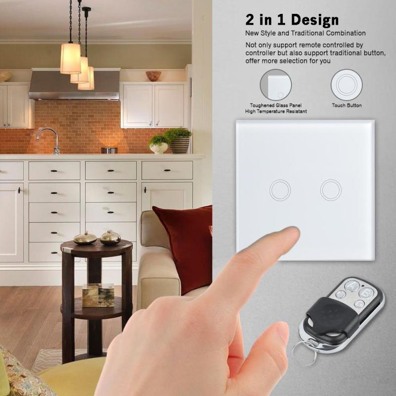 QIACHIP Wireless remote control touch light switch 86 1 Gang 1 Way RF433 Smart Wall Switch EU Standard Plug for smart home H3 eu uk standard sesoo 3 gang 1 way remote control wall touch switch wireless remote control light switches for smart home