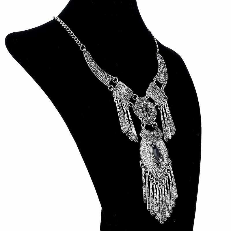 LOVBEAFAS 2019 moda czeski Choker obroża naszyjnik vintage pomponem komunikat Maxi długi naszyjnik kobiety biżuteria Collier Femme
