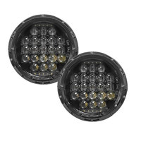 Chrome/Black 105W 7' Round Headlight lamps LED H4 Headlights 7 inch 5D Lens light With DRL Turning Light For Jeep Wrangler